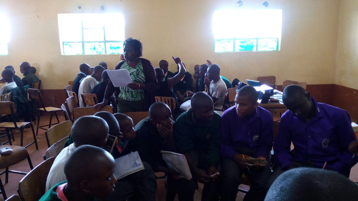 Nelly Ndirangu creating drug awareness among high school students in Muranga County Kenya