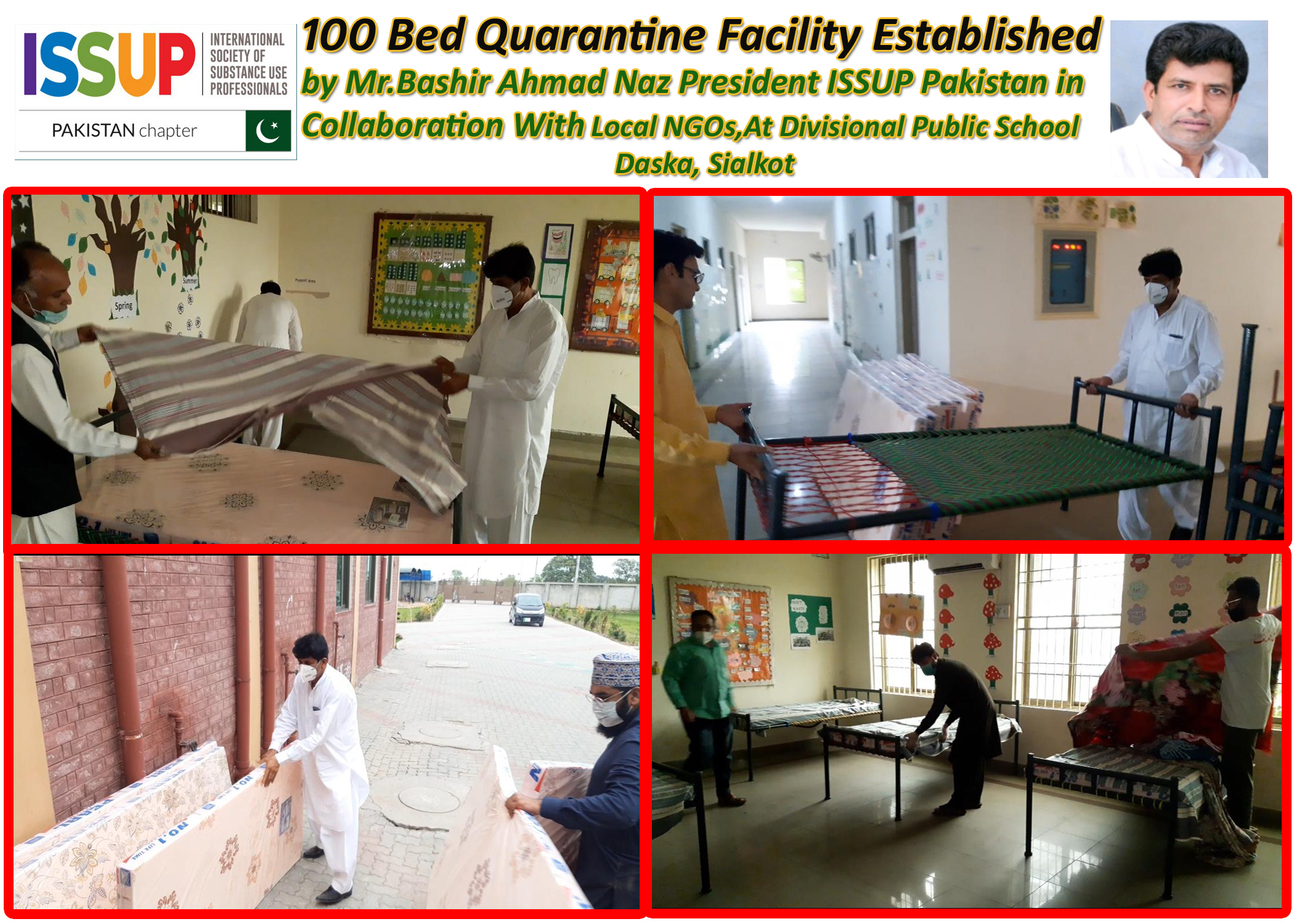 President ISSUP Pakistan In Collaboration of Local NGOs Established Corona Virus Quarantine 100 Bed Facility at DPS School, Daksa-Sialkot
