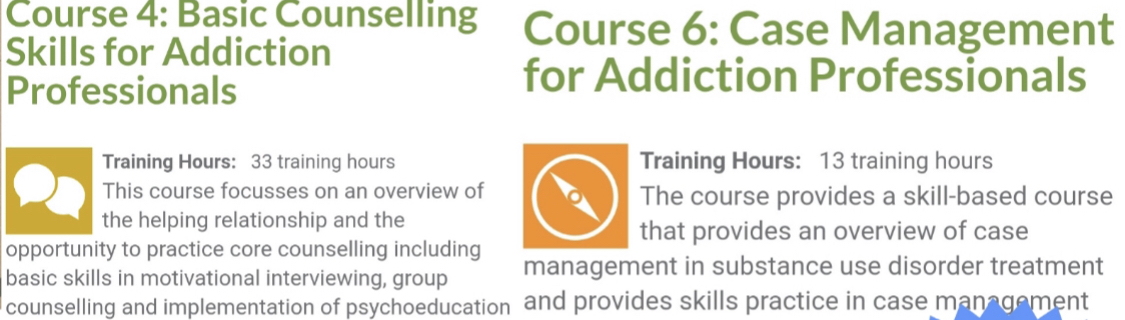 These are core courses towards your addiction professional credential goals