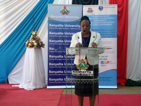 Dr Beatrice Kathungu, presenting a paper during the conference