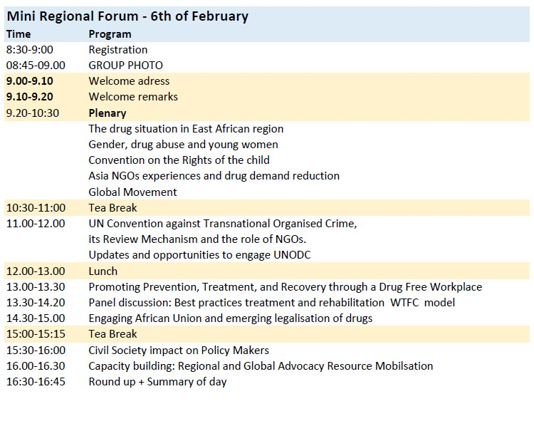 Agenda for the WFAD Regional Forum