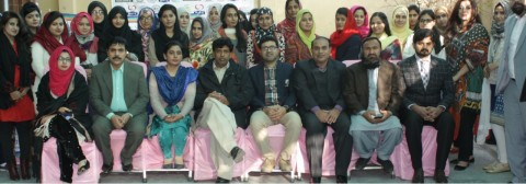 Group photo of participants with Mr. Muhammad Ayub, Mr. Bashir Ahmad Naz, Sana Ullah Rathore, Ms. Saima, Mr. Aslam, Mr Muhammad Jave