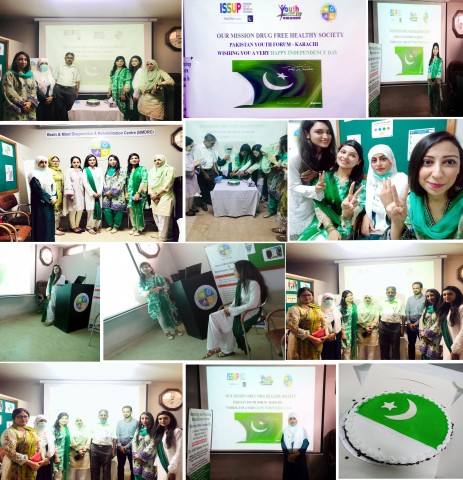 Youth Forum Pakistan's Team Karachi (Sindh Province) & ISSUP members celebrated Pakistan Independence Day, 2020 in collaboration with ISSUP, Pakistan at the Brain and Mind Diagnostic Center, Karachi.