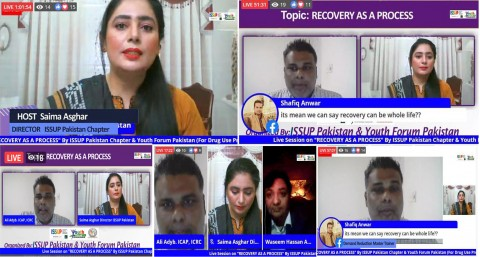 "ISSUP Pakistan Chapter and Youth Forum Pakistan (For Drug Use Prevention) Conducted A  Live Session on ""RECOVERY AS A PROCESS"" on Dated 14th December, 200."