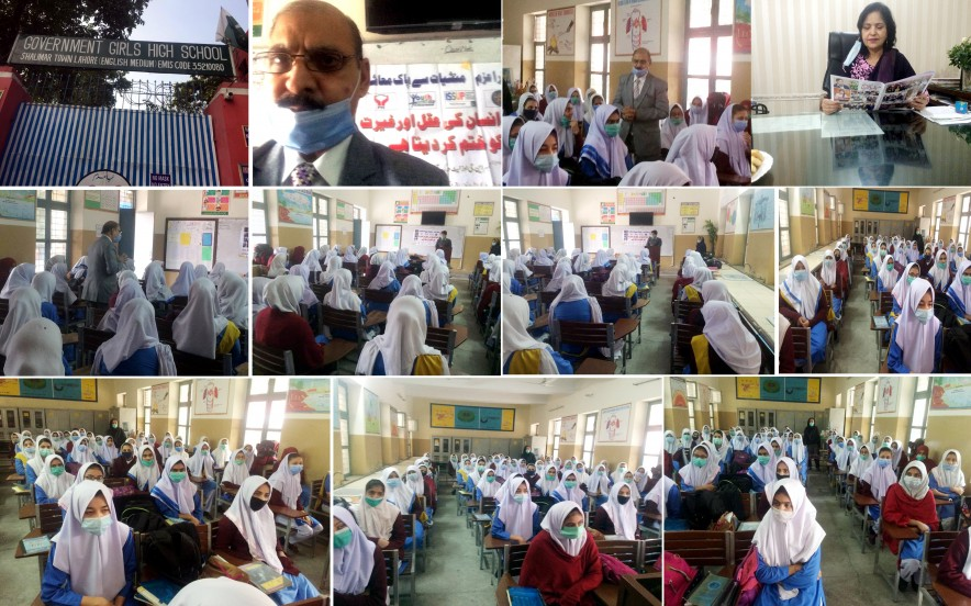 Awareness Raising Session on Drug Use Prevention at Government Girls High School Shalimar Town Organized By ISSUP Pakistan, Pak Youth Welfare Council, Youth Forum Pakistan and Anti Anti-Narcotics Force Punjab At Lahore-Pakistan.