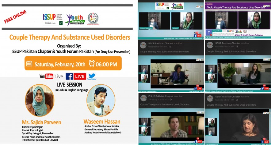 "Live Session on ""COUPLE THERAPY AND SUBSTANCE USE DISORDER"" by ISSUP Pakistan Chapter's & Youth Forum Pakistan (For Drug Use Prevention)."