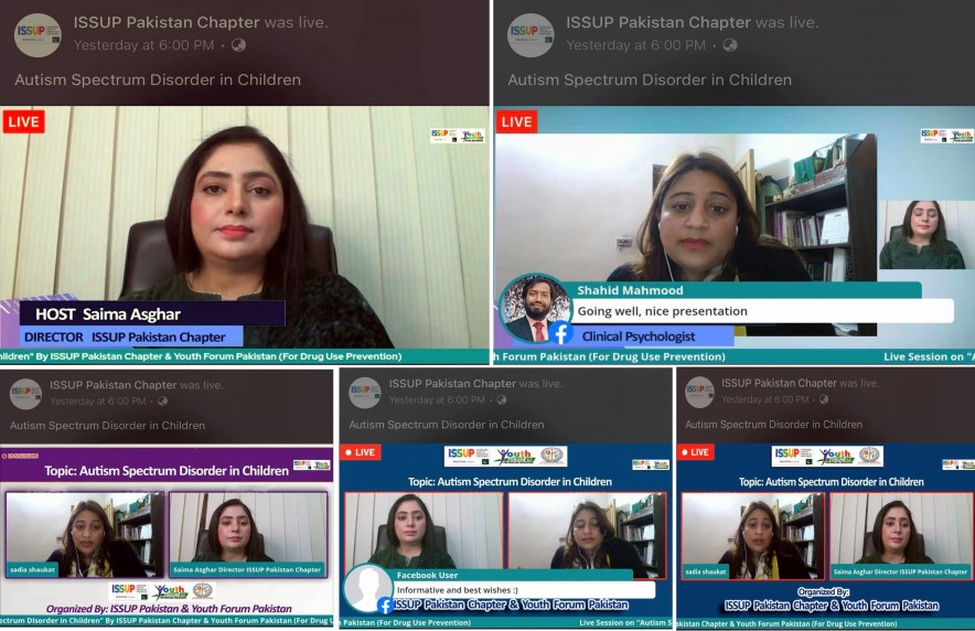 "Live Session on ""AUTISM SPECTRUM DISORDER IN CHILDREN"" Conducted by ISSUP Pakistan Chapter & Youth Forum Pakistan and M A Jinnah Foundation (Regd)."