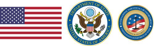 United States flag and State Department crest
